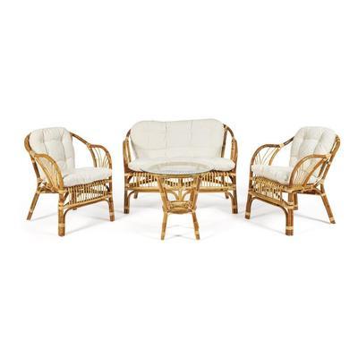 Набор мебели New Bogota Eco Skin с подушками натуральный (стол, 2 кресла, диван)