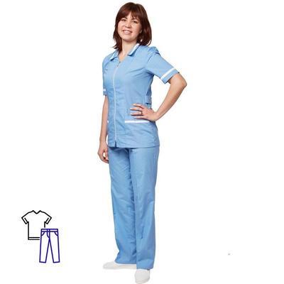 Костюм медицинский м09-КБР серо-голубой (размер 48-50 рост 170-176)