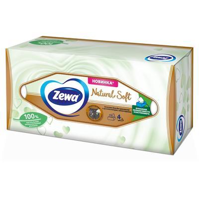 Салфетки косметические  Zewa Natural Soft  4-слойные (80 штук в упаковке)