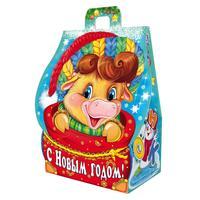 Новогодний сладкий подарок Домик Коровки Музыканты в картонной коробке 500 г (с пазлом)