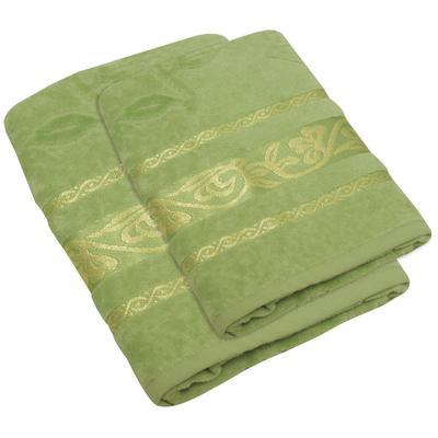 Набор полотенец велюровых Либерти 50х80 см 1 штука 70х130 см 1 штука 450 г/кв.м зеленые