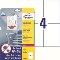Этикетки противовирусные самоклеящиеся Avery Zweckform (L8003-10) 105x148 мм 4 штуки на листе белые (10 листов в упаковке)
