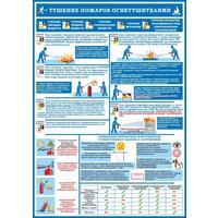 Плакат информационный первичные средства пожаротушения, комплект из 4-х листов