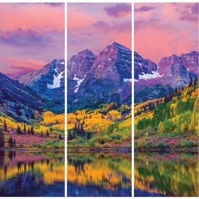Картина модульная на холсте Ecoramka Горы осень (90x90 см) 3 модуля