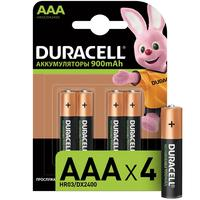 Аккумуляторные батарейки Duracell AAA HR03 4 штуки (900 мАч, Ni-Mh)
