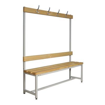 Скамья деревянная СКП-1В-1500 со спинкой и вешалкой (сосна, 1500х390х1670 мм)