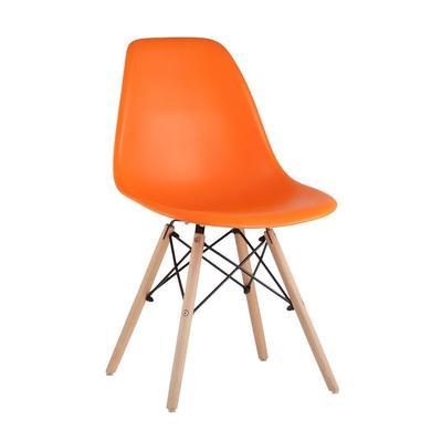 Стул для столовых Eames оранжевый (пластик/дерево бук, 4 штуки в упаковке)