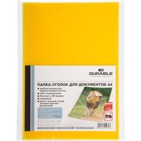 Папка-уголок Durable A4 пластиковая 180 мкм желтая (10 штук в упаковке)