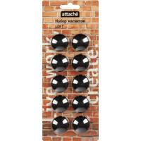 Магнитный держатель для досок черный Attache Loft (диаметр 30 мм, 10 штук в упаковке)