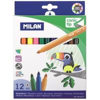 Фломастеры Milan Cone-Tipped 12 цветов с коническим стержнем