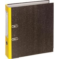 Папка-регистратор Комус 75 мм мрамор/желтый корешек