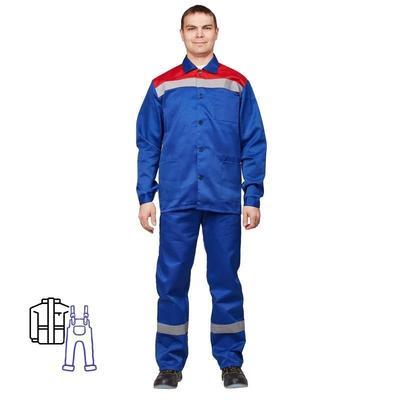 Костюм рабочий летний мужской л02-КПК с СОП васильковый/красный (размер 44-46, рост 182-188)