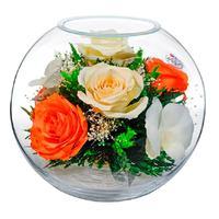 Композиция из натуральных роз и орхидей Natural Flower BNM7