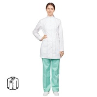 Блуза медицинская женская удлиненная м13-БЛ длинный рукав белая (размер 60-62, рост 158-164)