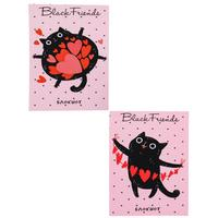 Блокнот Проф-пресс Черные коты с сердечками А7 48 листов в клетку на склейке (обложка в ассортименте)