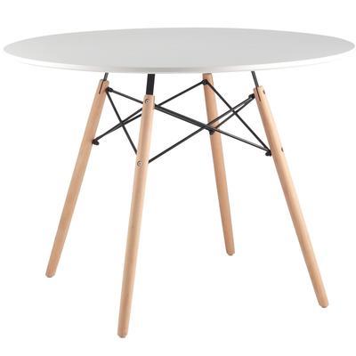 Стол обеденный Eames DSW (круглый, белый/бук, d1000х740 мм)
