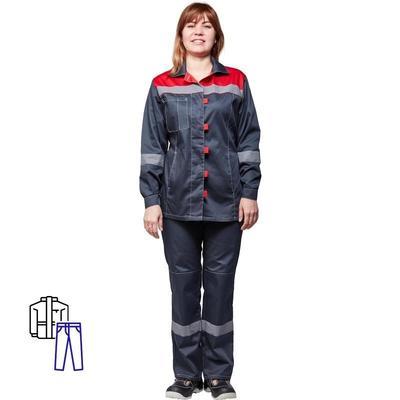 Костюм рабочий летний женский л20-КБР с СОП серый/красный (размер 44-46, рост 170-176)