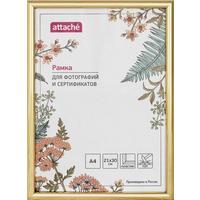 Рамка Attache A4 21x30 см пластиковый багет 14 мм золотистая