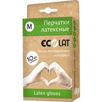 Перчатки одноразовые EcoLat латексные неопудренные белые (размер M, 10 штук/5 пар в упаковке)