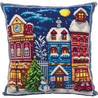 Набор для вышивания Panna подушка Зимний городок (лицевая сторона наволочки 42x42см)