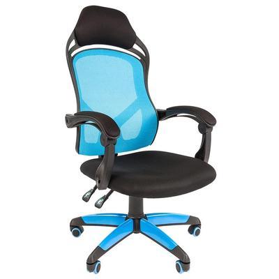 Кресло игровое Chairman Game 12 голубое/черное (ткань/сетка, пластик)