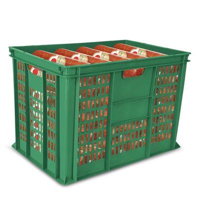Ящик (лоток) колбасный из ПНД 600х400х410 мм зеленый перфорированный
