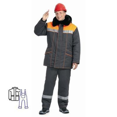 Костюм рабочий зимний мужской Билд-КПК с СОП темно-серый/оранжевый (размер 64-66, рост 182-188)