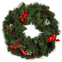 Венок хвойный Рождественский Нарядный 40 см зеленый/красный