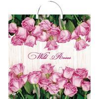Пакет подарочный пластиковый Дикие розы (44х40 см, 10 штук в упаковке)