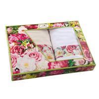 Набор полотенец махровых Розы 35х70 см 1 штука 50х100 см 1 штука 350 г/кв.м белое/бежевое