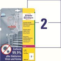 Этикетки противовирусные самоклеящиеся Avery Zweckform (L8012-10) 210x148 мм 2 штуки на листе прозрачные (10 листов в упаковке)