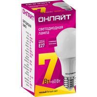 Лампа светодиодная ОНЛАЙТ 7 Вт Е 27 грушевидная 2700 К теплый белый свет