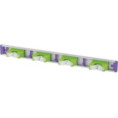 Держатель для уборочного инвентаря настенный Palisad алюминий белый/зеленый/фиолетовый (длина 580 мм)