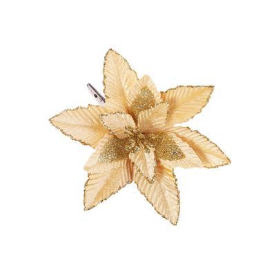 Новогоднее украшение Magic Time Цветок текстиль бежевое (диаметр 17 см)