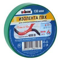 Изолента Unibob ПВХ зеленая 15 мм х 10 м зеленая