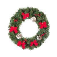 Венок хвойный Рождественский Нарядный 60 см зеленый/красный