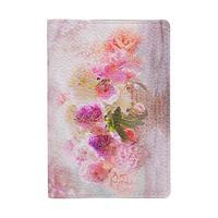 Обложка для паспорта Eshemoda Розовый букет из натуральной кожи разноцветная