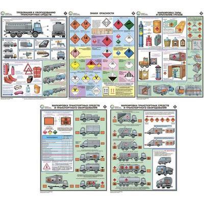 Плакат информационный перевозка опасных грузов, комплект из 5-ти листов