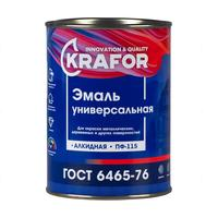 Эмаль универсальная Krafor ПФ-115 серая глянцевая 0.8 кг