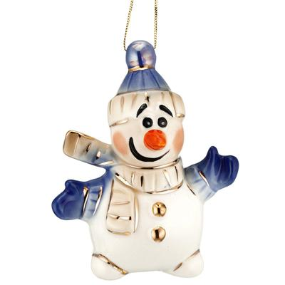 Елочная игрушка Olaf фарфор белая/синяя (высота 10.2 см)