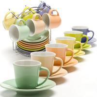 Сервиз кофейный Loraine (24865) на 6 персон керамика (6 чашек 80 мл, 6 блюдец 14 см, подставка)