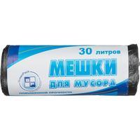 Мешки для мусора на 30 л черные с оттенком металлик (ПНД, 10 мкм, в рулоне 25 шт, 50х60 см)