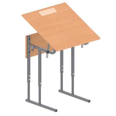 Стол ученический одноместный МЕТ с регулируемым наклоном столешницы (бук/серый, рост 5-7)