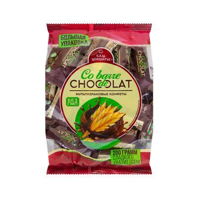 Конфеты Co barre de Chocolat мультизлаковые с темной кондитерской глазурью 200 г