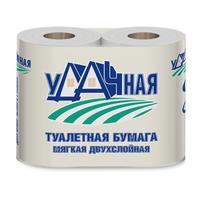 Бумага туалетная Удачная 2-слойная белая 15 метров (4 рулона в упаковке)
