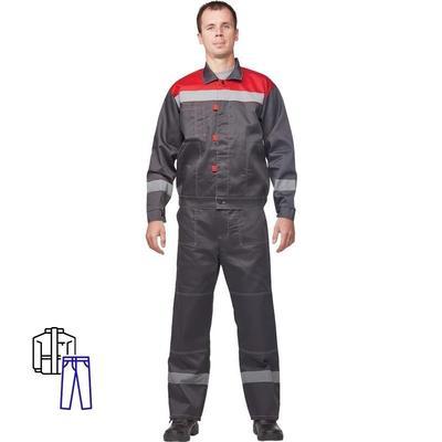Костюм рабочий летний мужской л20-КБР с СОП серый/красный (размер 52-54, рост 158-164)