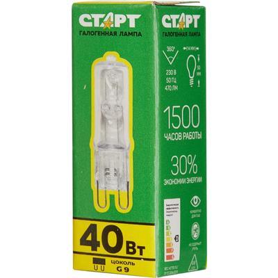 Лампа галогенная Старт 40 Вт G9 капсула прозрачная 2800 К теплый белый свет