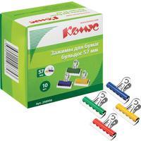Зажимы для бумаг Комус бульдог 57 мм цветные (10 штук в упаковке)