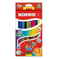 Карандаши цветные Kores DUO Jumbo 24 цвета трехгранные с точилкой