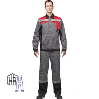 Костюм рабочий летний мужской л19-КПК с СОП серый/красный (размер 56-58, рост 182-188)